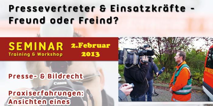 """""""Pressevertreter und Einsatzkräfte – Freund oder Feind"""" – Erstes Wi112-Presseseminar mit Workshop"""
