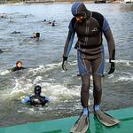 Abschwimmen der Feuerwehr Mainz: Schwimmer können wegen Hochwasser nicht starten