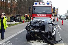 Geländewagen überschlägt sich nach Unfall – 6 Verletzte auf A671