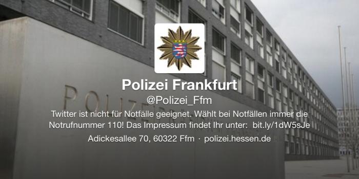 Frankfurter Polizei beim Kurznachrichtendienst Twitter aktiv