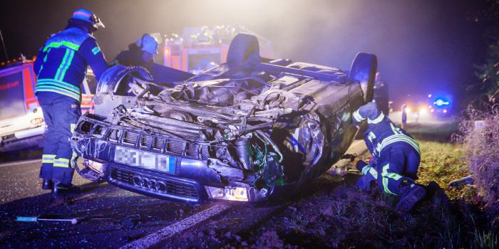 28-Jähriger überschlägt sich in Autobahnabfahrt bei Erbenheim