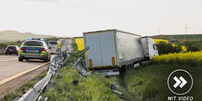 Tödlicher Lkw Unfall im Baustellenbereich auf der A3