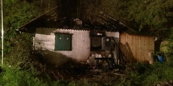 Gartenhaus wird Raub der Flammen