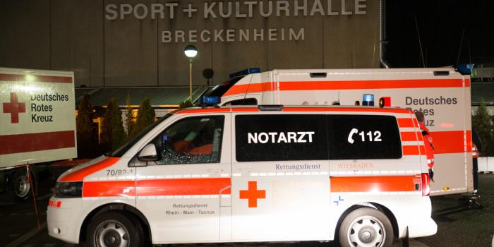 Polizei- und Rettungsdiensteinsatz an Flüchtlingsunterkunft in Breckenheim