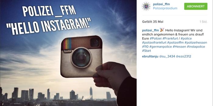 "Polizeipräsidium Frankfurt sagt ""Hello Instagram!"""