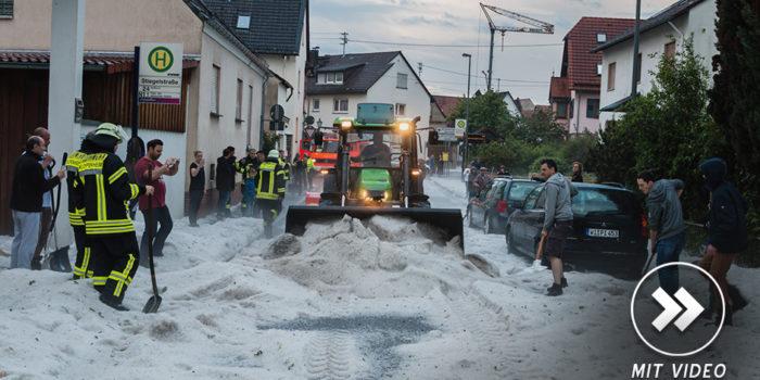 Großeinsatz der Feuerwehr: Unwetter mit Starkregen und Hagel zieht über Wiesbaden