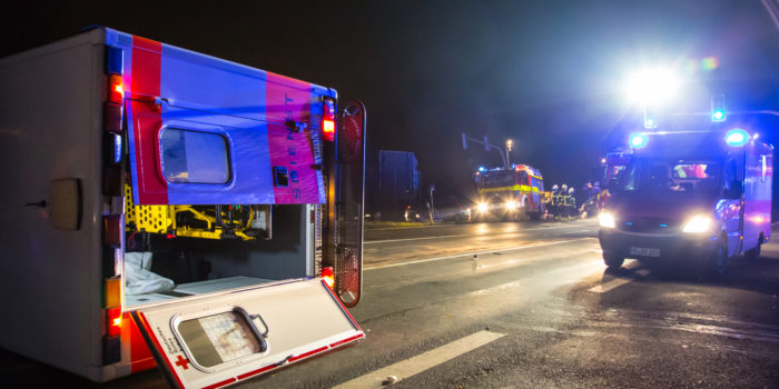 Verkehrsunfall mit Rettungswagen in Bad Homburg