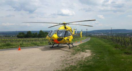 Feuerwehr und Rettungsdienst reanimieren Wanderführer in den Weinbergen