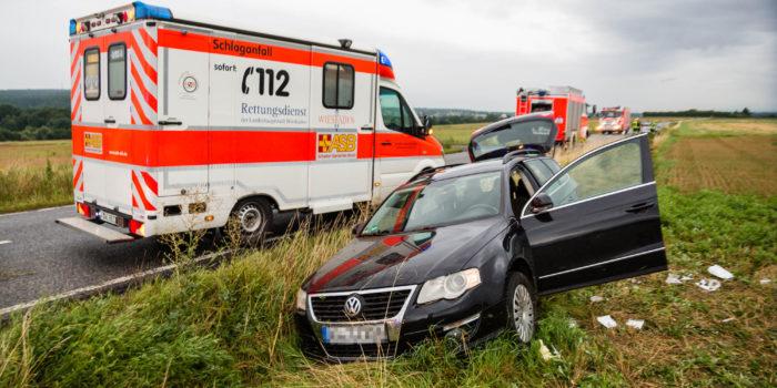 Im Graben gelandet – Fahrer erfolgreich reanimiert