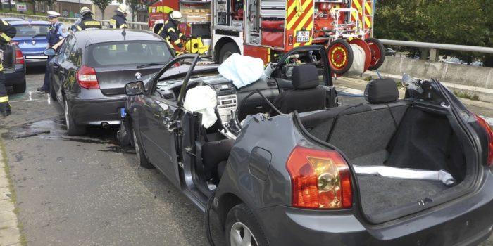 Verkehrsunfall mit vier Fahrzeugen auf der Hochtangente Mainz