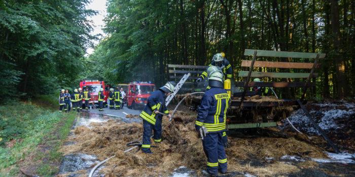 Heuwagen geht in Flammen auf und verursacht Waldbrand