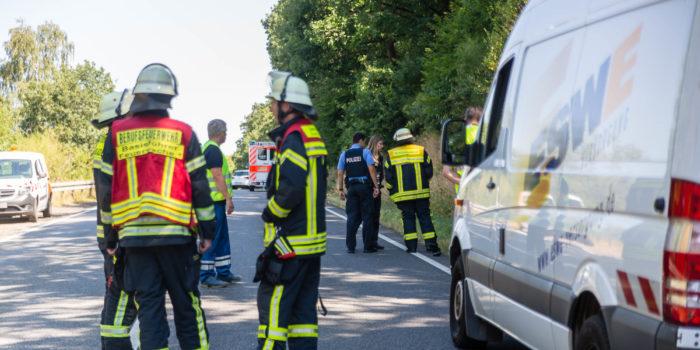 Langwieriger Feuerwehreinsatz und Vollsperrung der B455 wegen Gasleck