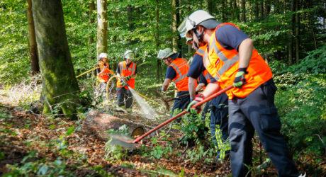 Großangelegte Waldbrandübung im Wiesbadener Stadtwald