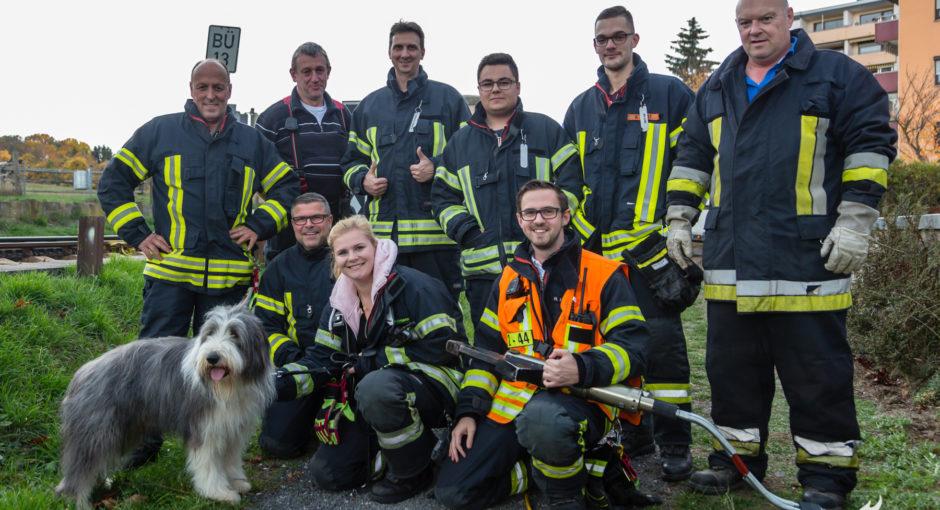 Feuerwehr befreit Hund mit hydraulischem Rettungsgerät